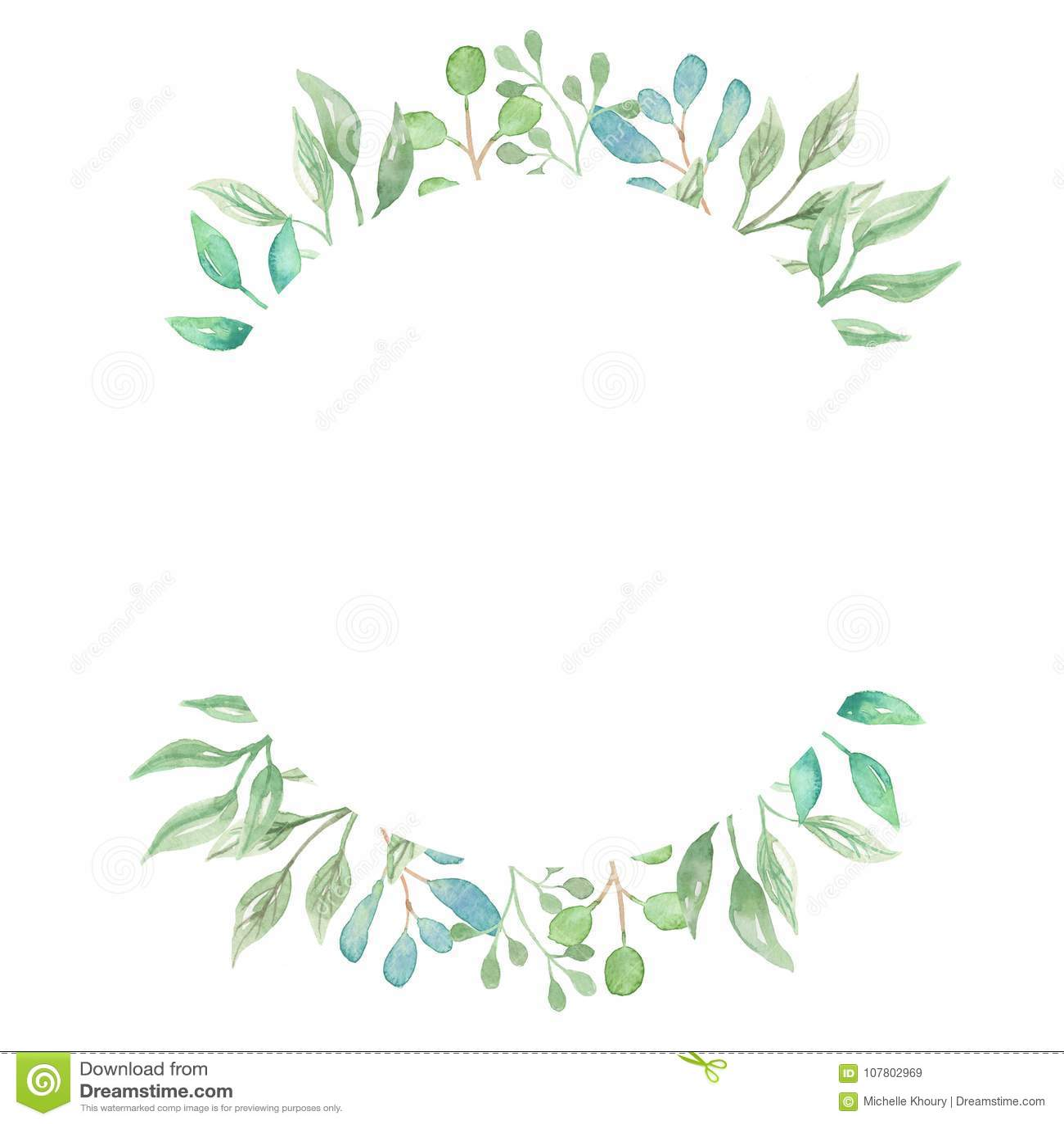431476f2bac9 Royalty-Free Stock Photo. Watercolor Border Greenery Foliage Leaves Leaf  Green Frame Wedding Spring Summer