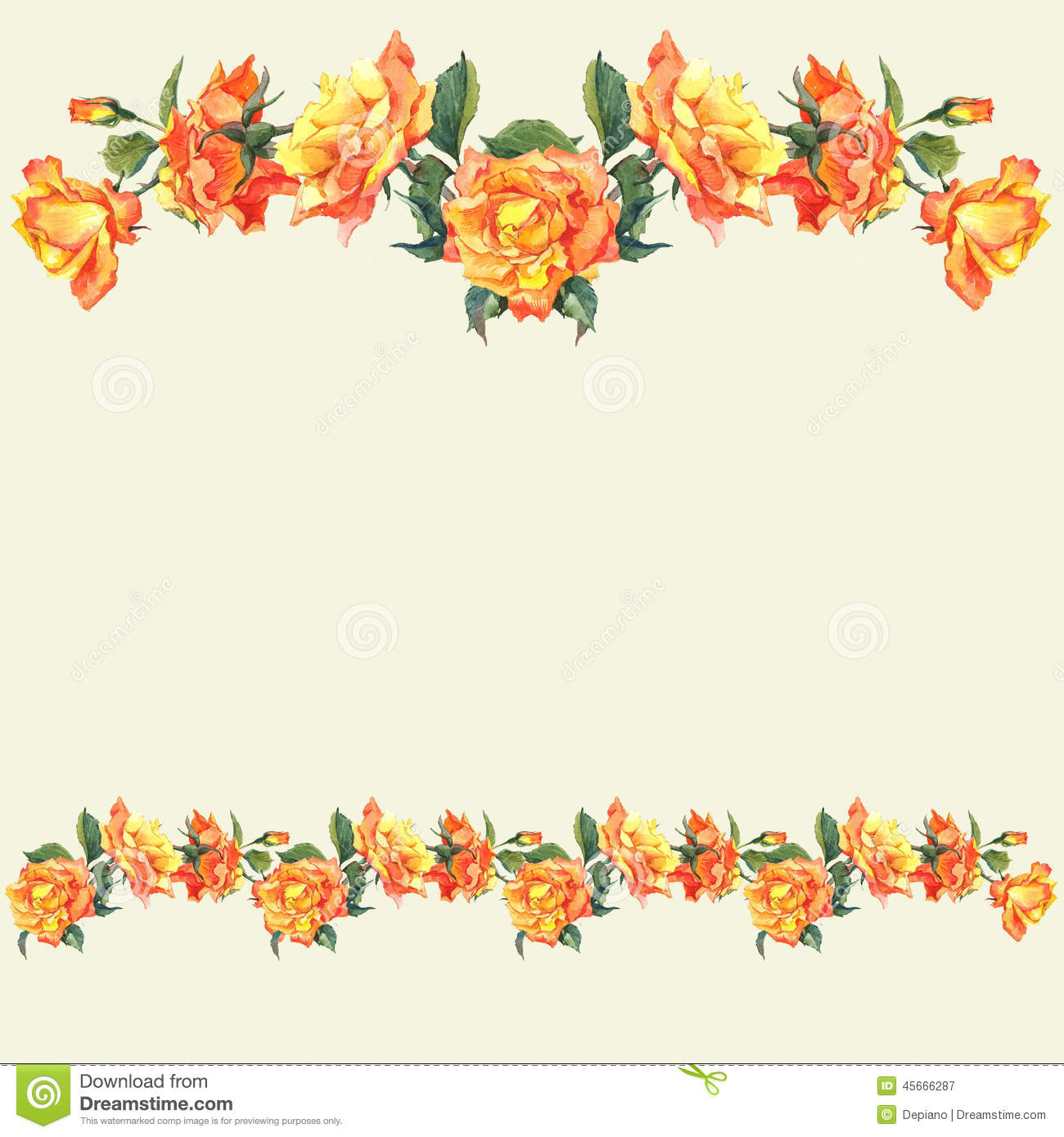 Watercolor Border And Vignettes With Roses Stock Image
