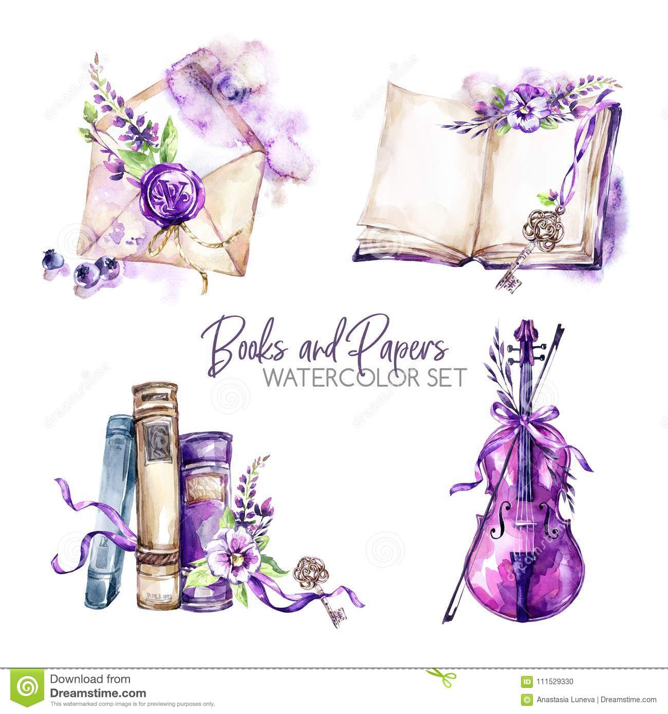Watercolor borders set with old books, envelope, key, violin, flowers and berries. Original hand drawn illustration in