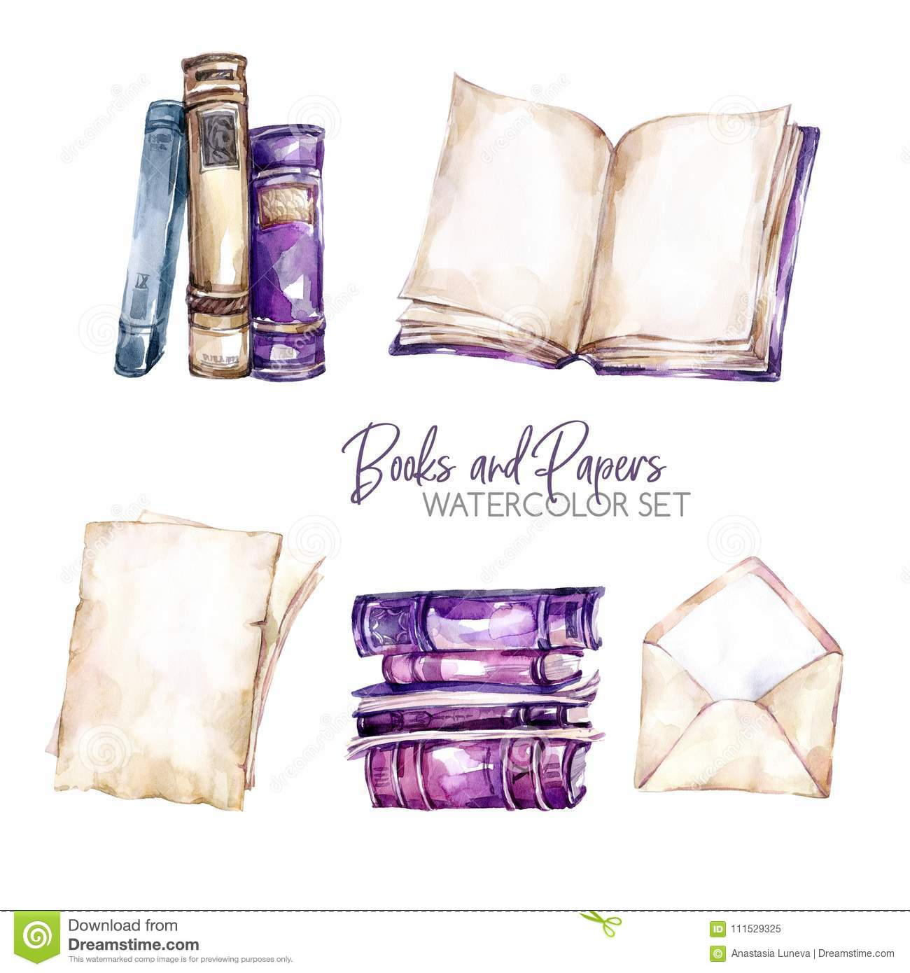 Watercolor borders set with old books, envelope and paper sheets. Original hand drawn illustration in violet shades
