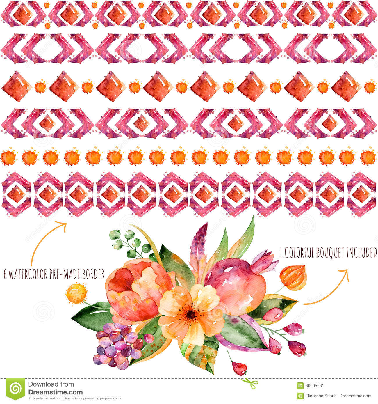6 Watercolor Borders For Your Own Compositions 1 Colorful Autumn Bouquet With Leaves Flowers Pomegranate Berries And F Illustration 60005661