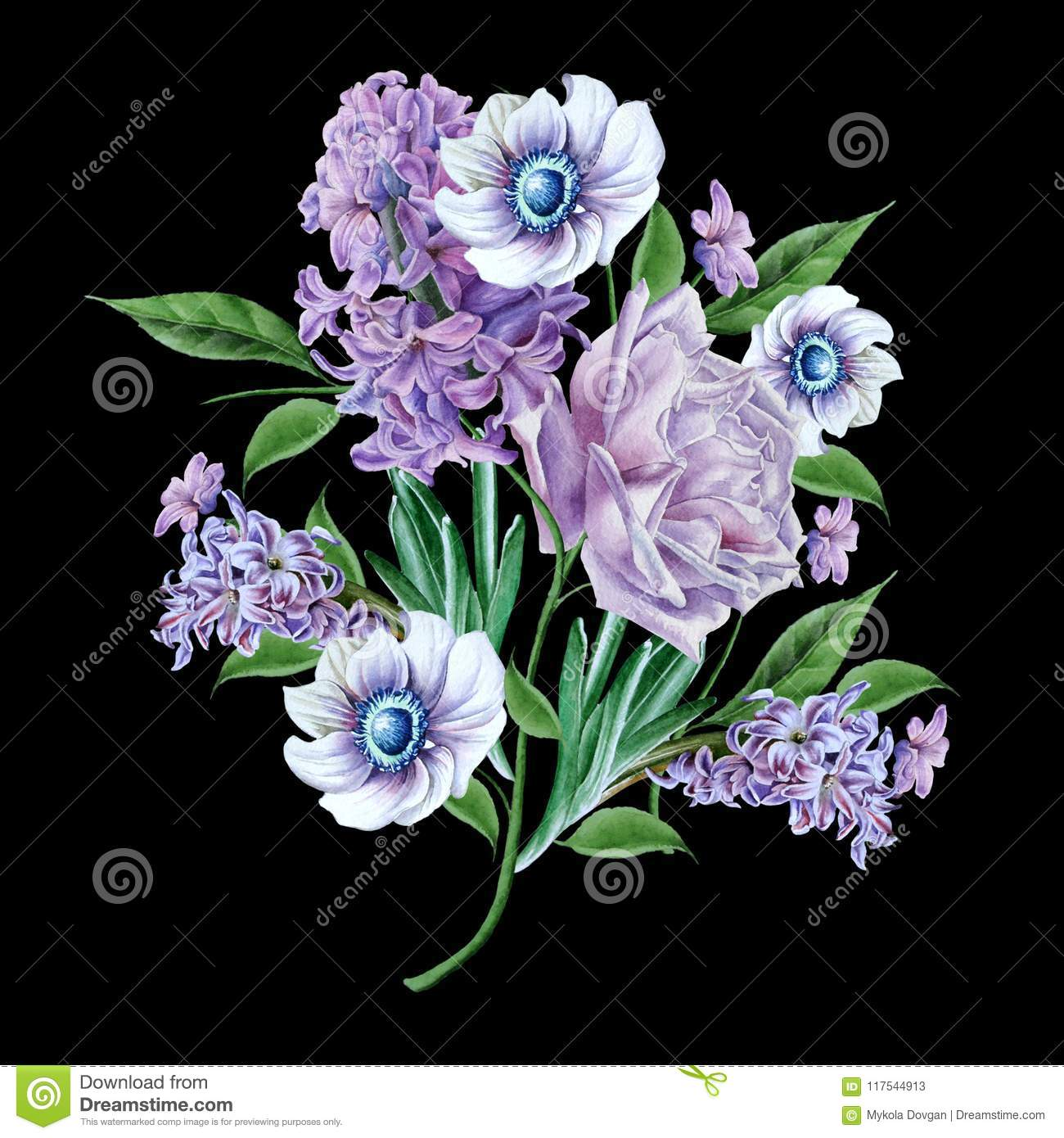 Watercolor bouquet with flowers rose hyacinth anemone stock download watercolor bouquet with flowers rose hyacinth anemone stock illustration illustration izmirmasajfo