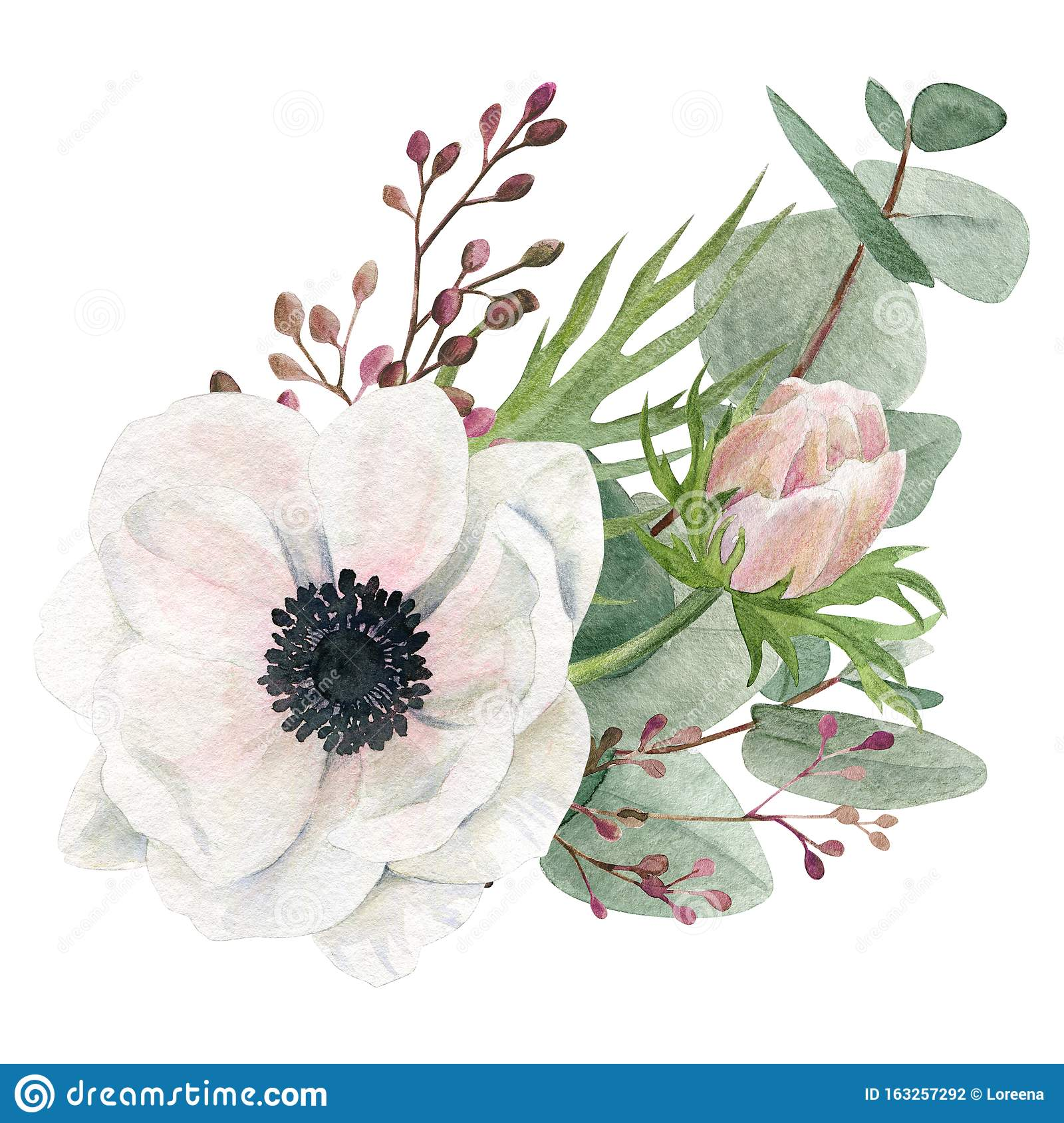 Watercolor Bouquet Hand Drawn Illustration Anemone And Greenery Stock Illustration Illustration Of Leaf Nature 163257292