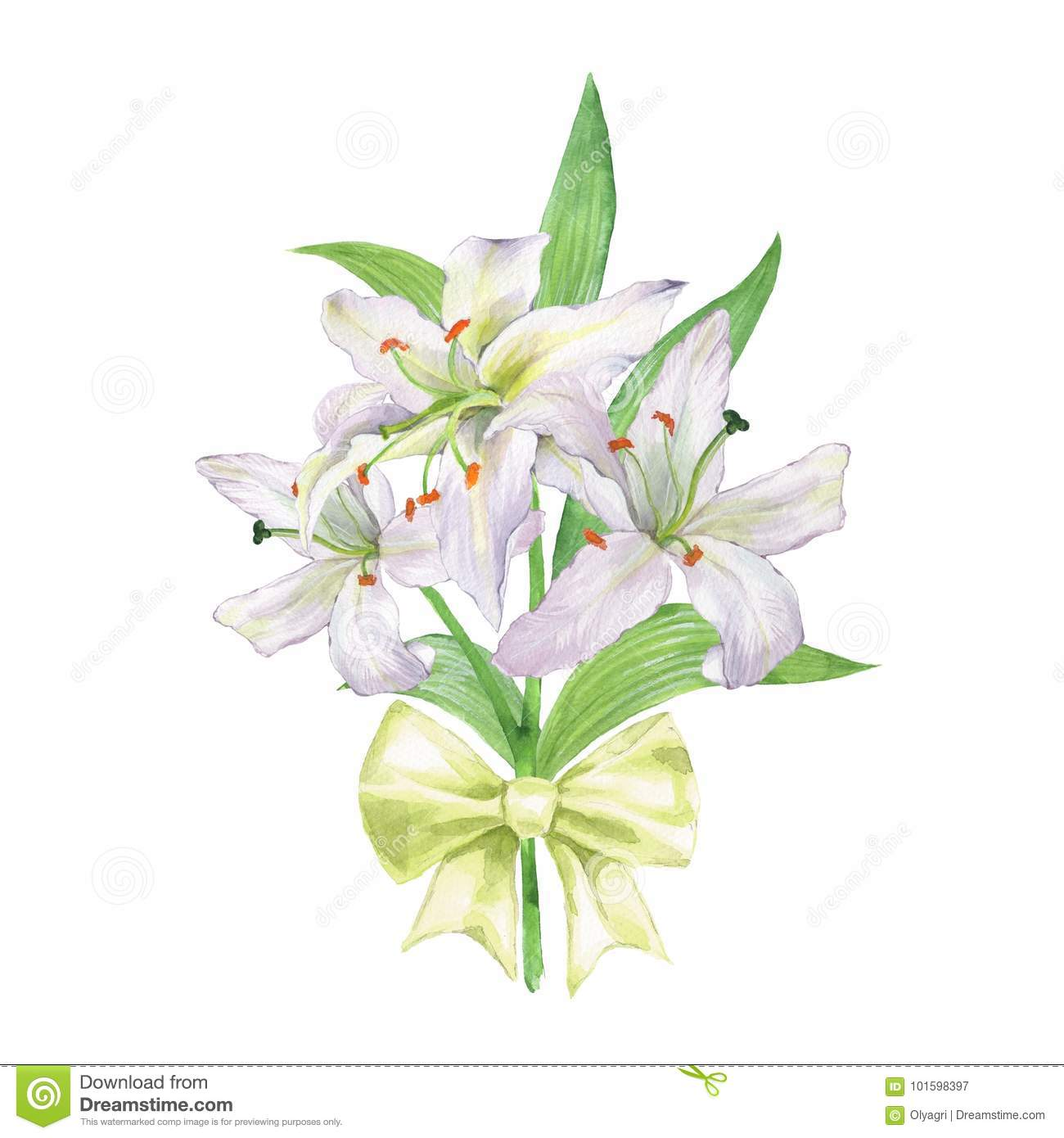 Watercolor bouquet of lily 2 stock image image of floral element watercolor bouquet of lily white flowers izmirmasajfo