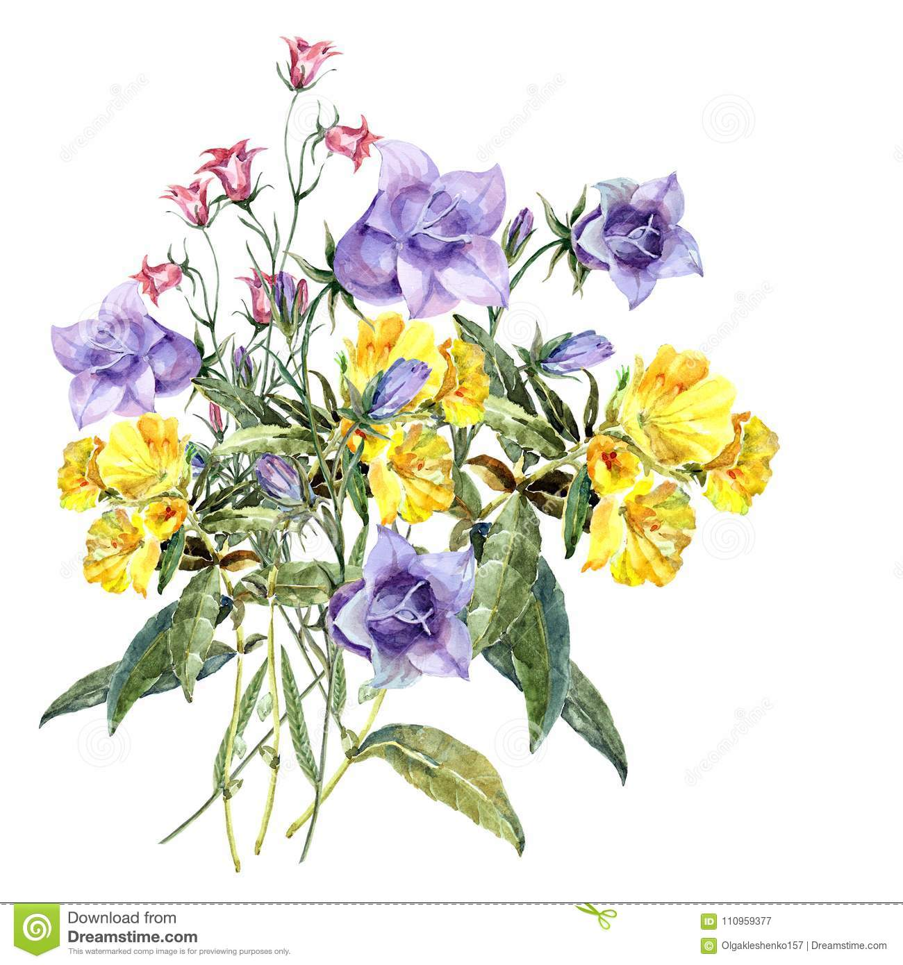 Watercolor bouquet meadow flowers floral pattern with blue and download watercolor bouquet meadow flowers floral pattern with blue and yellow flowers stock illustration izmirmasajfo