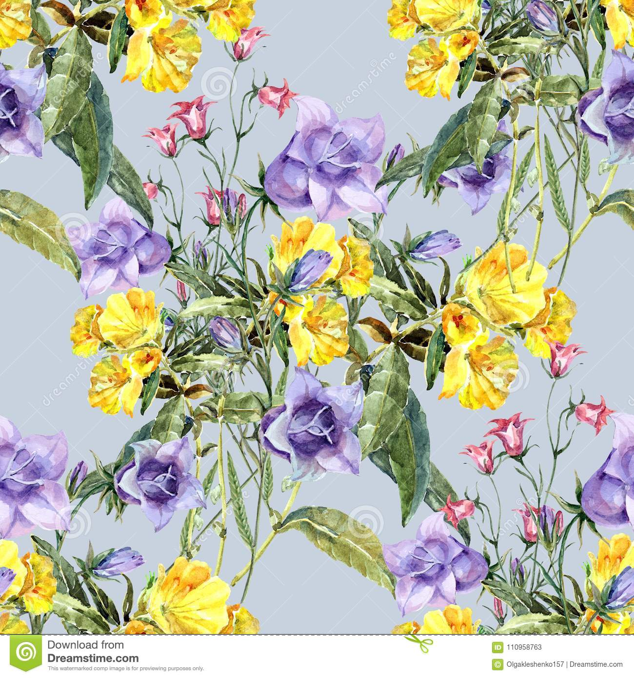 Watercolor Bouquet Meadow Flowers Floral Seamless Pattern With Blue