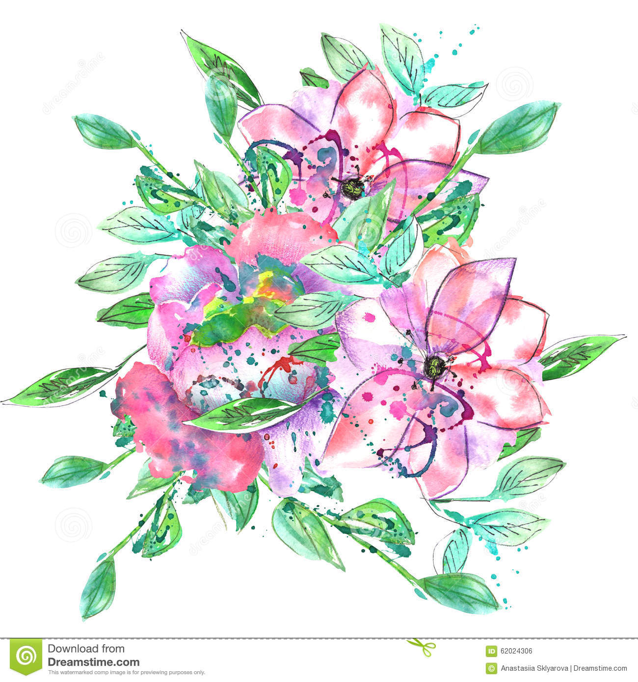 Watercolor Bouquet With Pink And Purple Flowers And Green And Blue