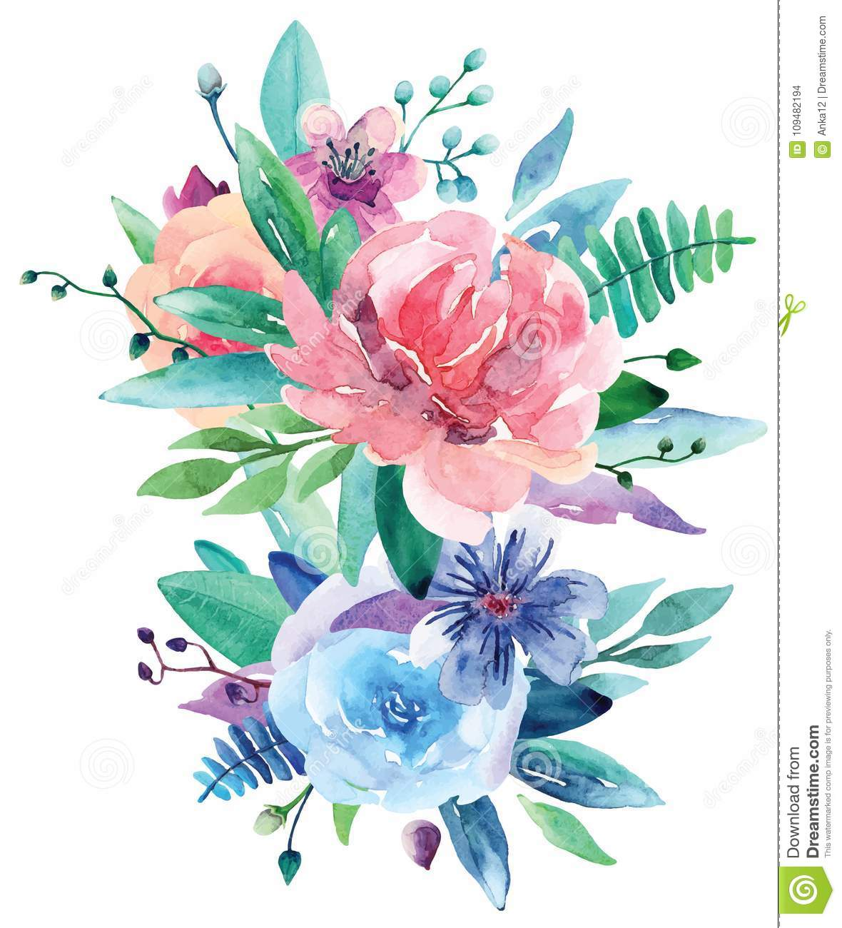 Watercolor Bouquet Vector Clip Art Pink And Blue Floral Stock
