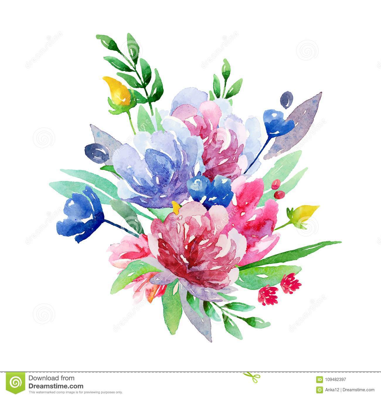 watercolor bouquet vector clip art summer floral stock vector illustration of nature clip. Black Bedroom Furniture Sets. Home Design Ideas