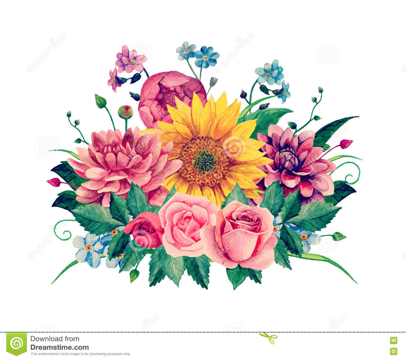 Watercolor Bouquet Vector Stock Vector Illustration Of Invitation