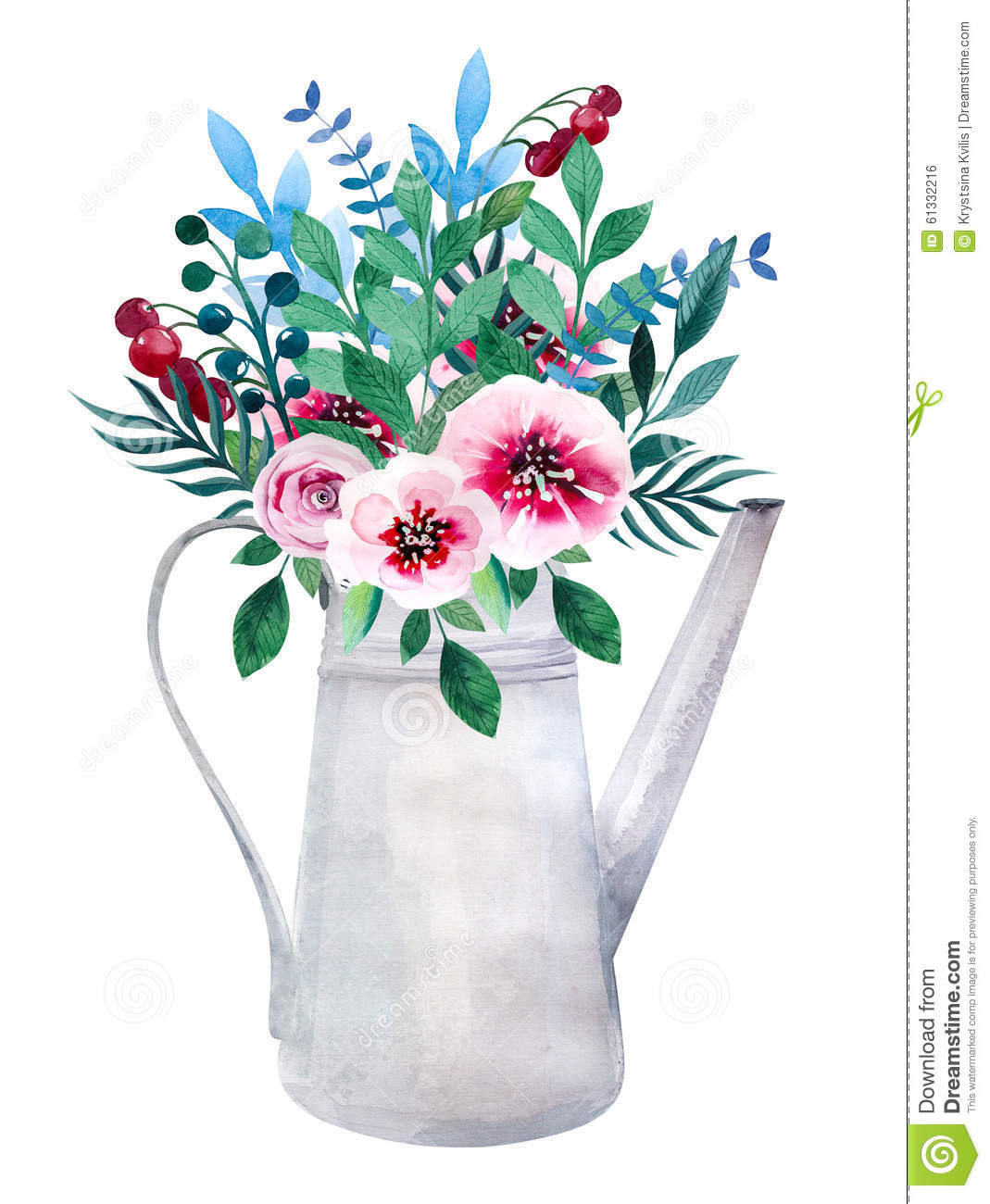 Watercolor Bouquets Of Flowers In Pot. Rustic Stock Illustration ...