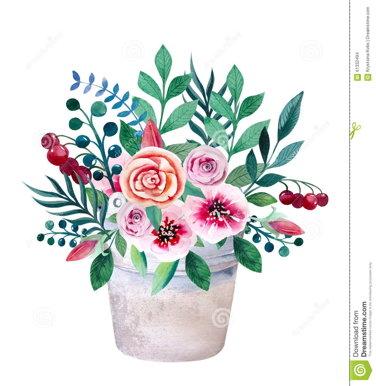 Watercolor Bouquets Of Flowers In Pot Rustic Stock Illustration