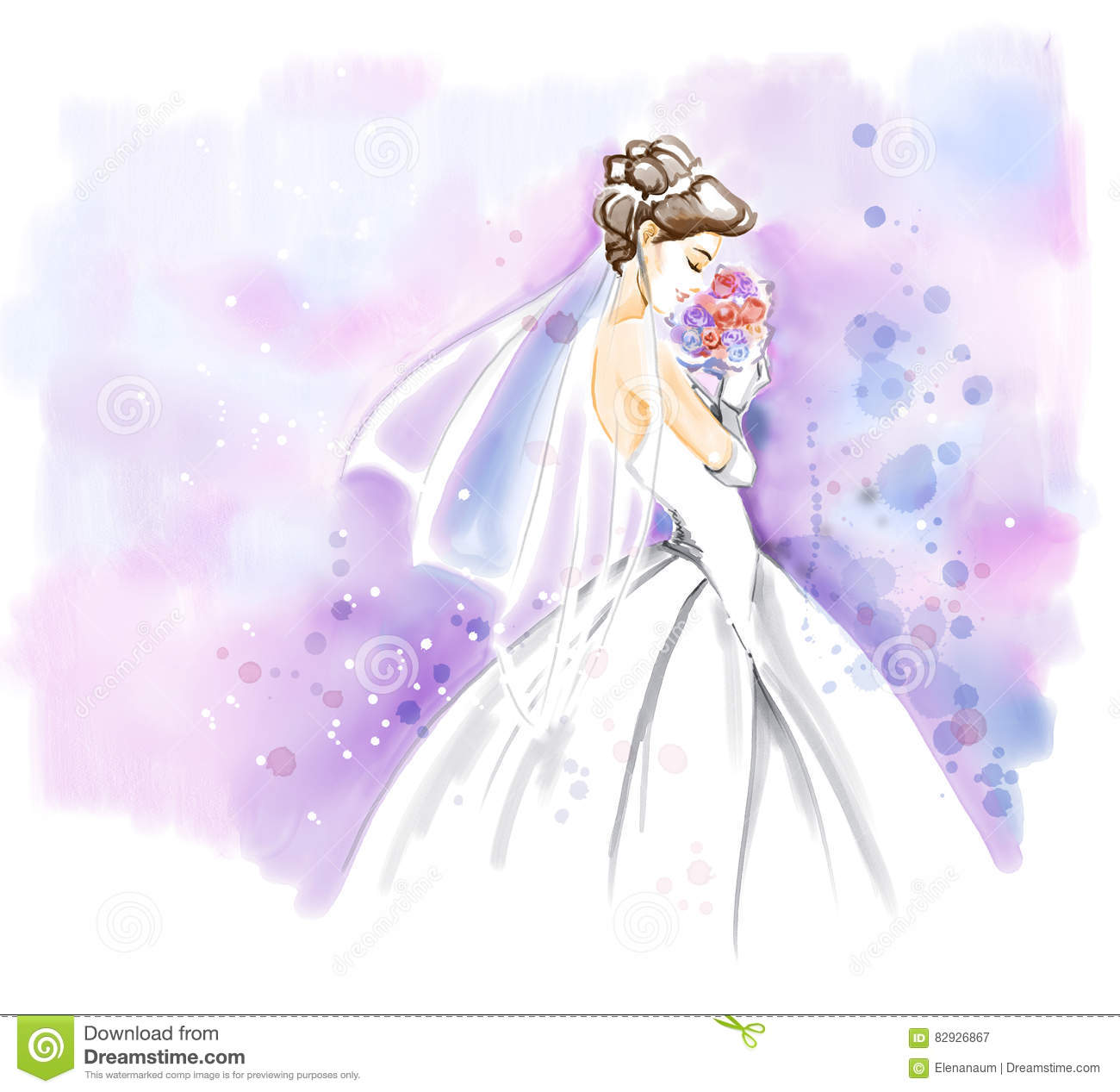Watercolor Bride In Wedding Dress With Bouquet Royalty