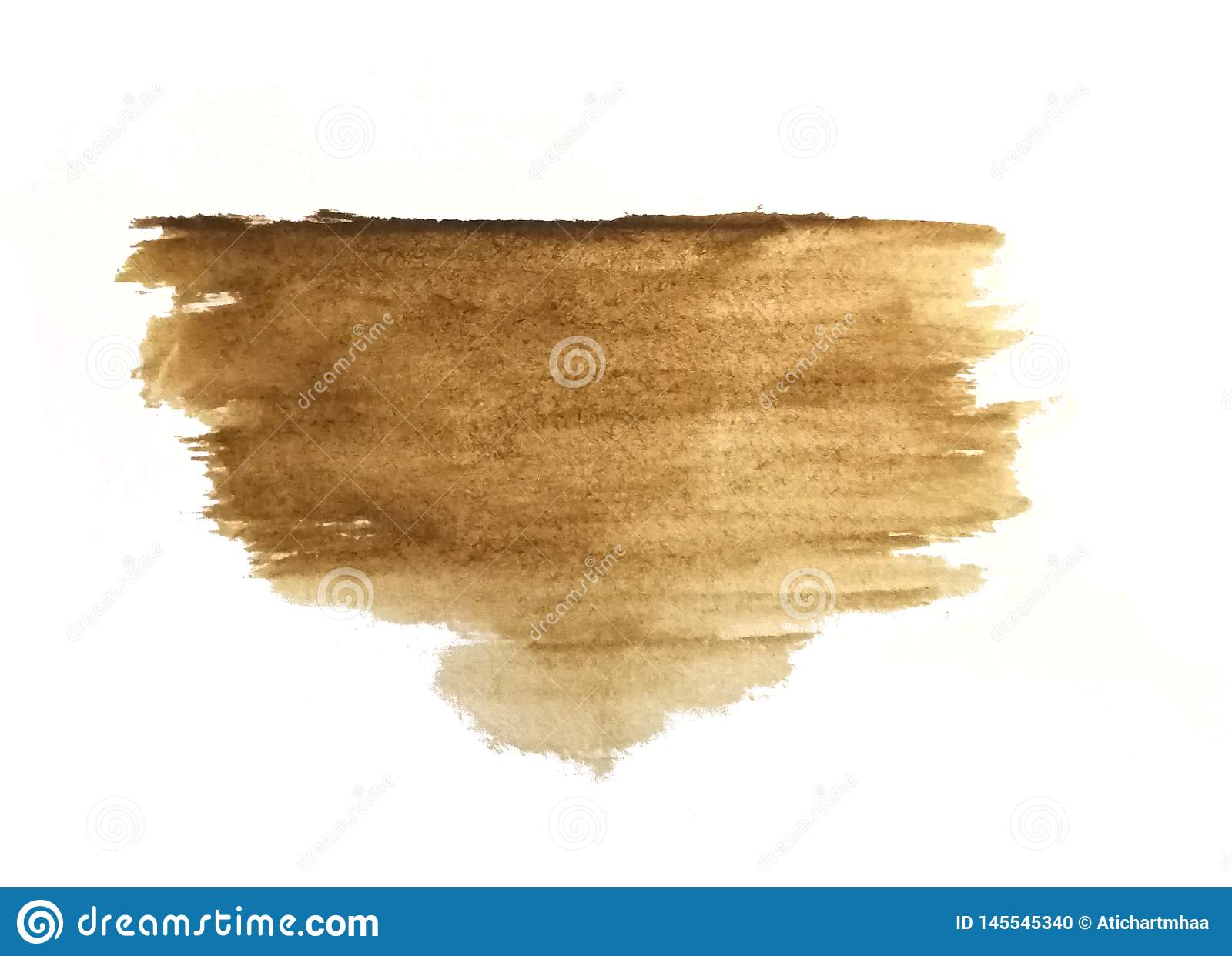 Watercolor brush hand drawn on paper brown abstract