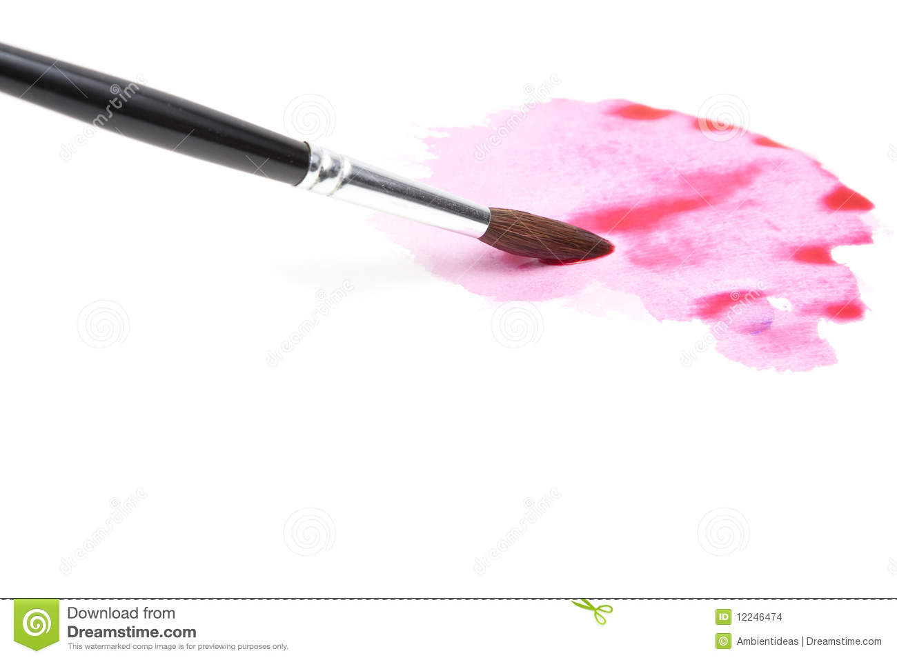 Watercolor Brush and Wet Paint in Pink and Red on White Background.