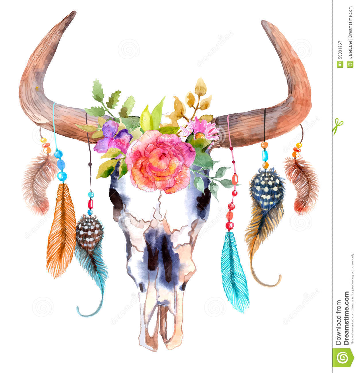 watercolor bull skull with flowers and feathers stock vector