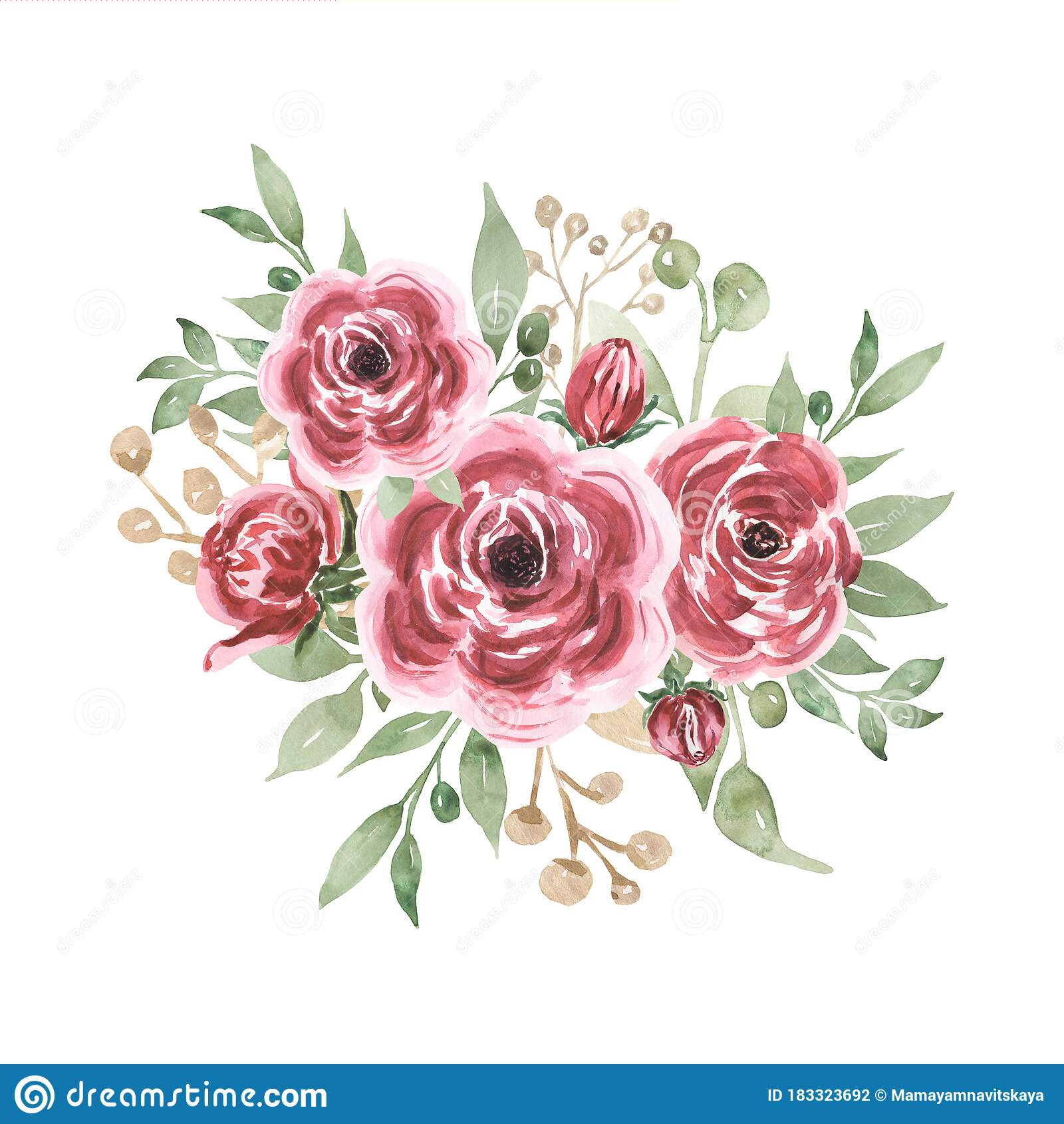 Watercolor Burgundy Summer Bouquets Illustration Pink Floral Arrangements Greenery Cliparts Wedding Flowers Wedding Invites Stock Illustration Illustration Of Garden Invites 183323692