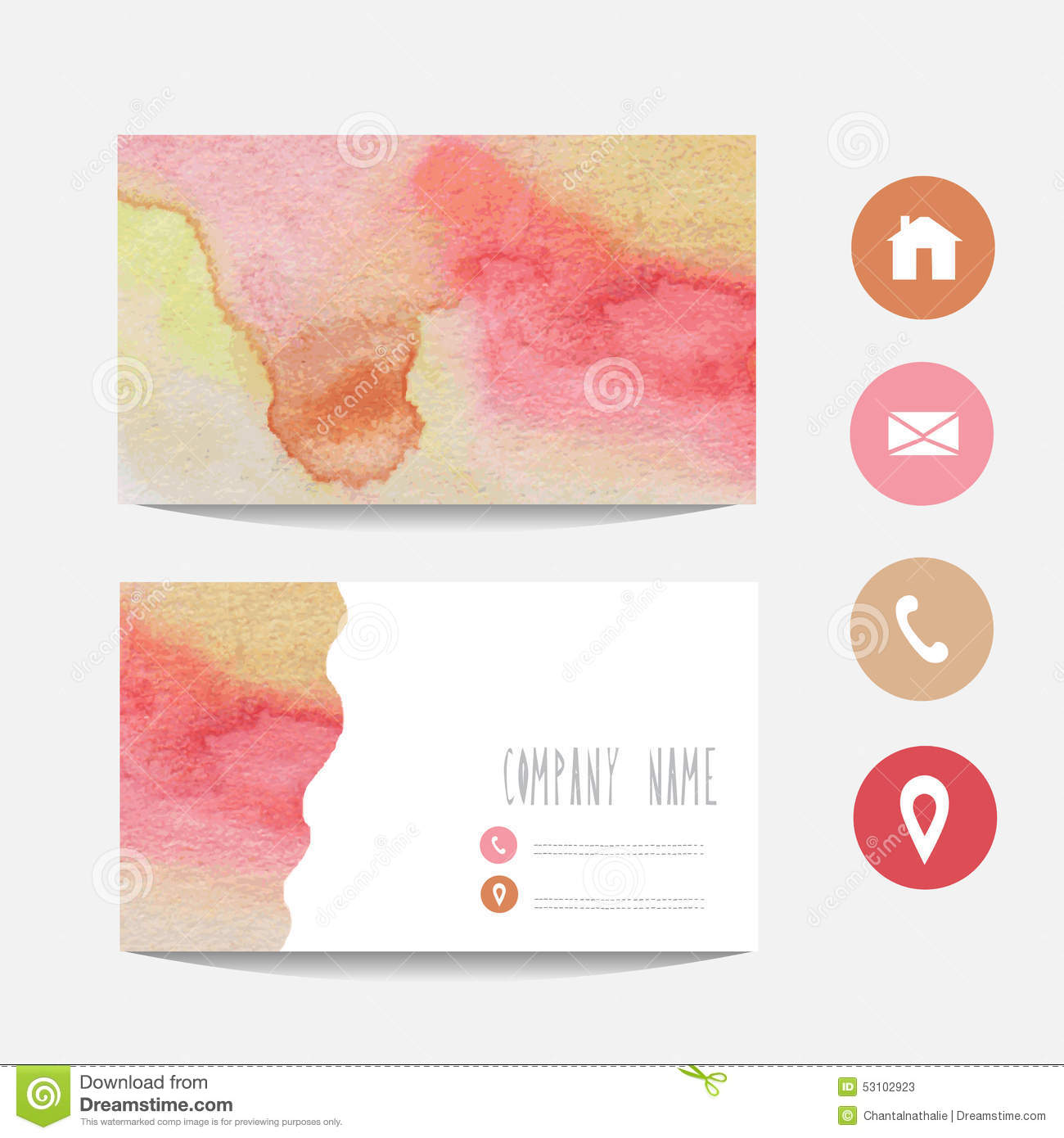 watercolor business card stock vector  image: 53102923