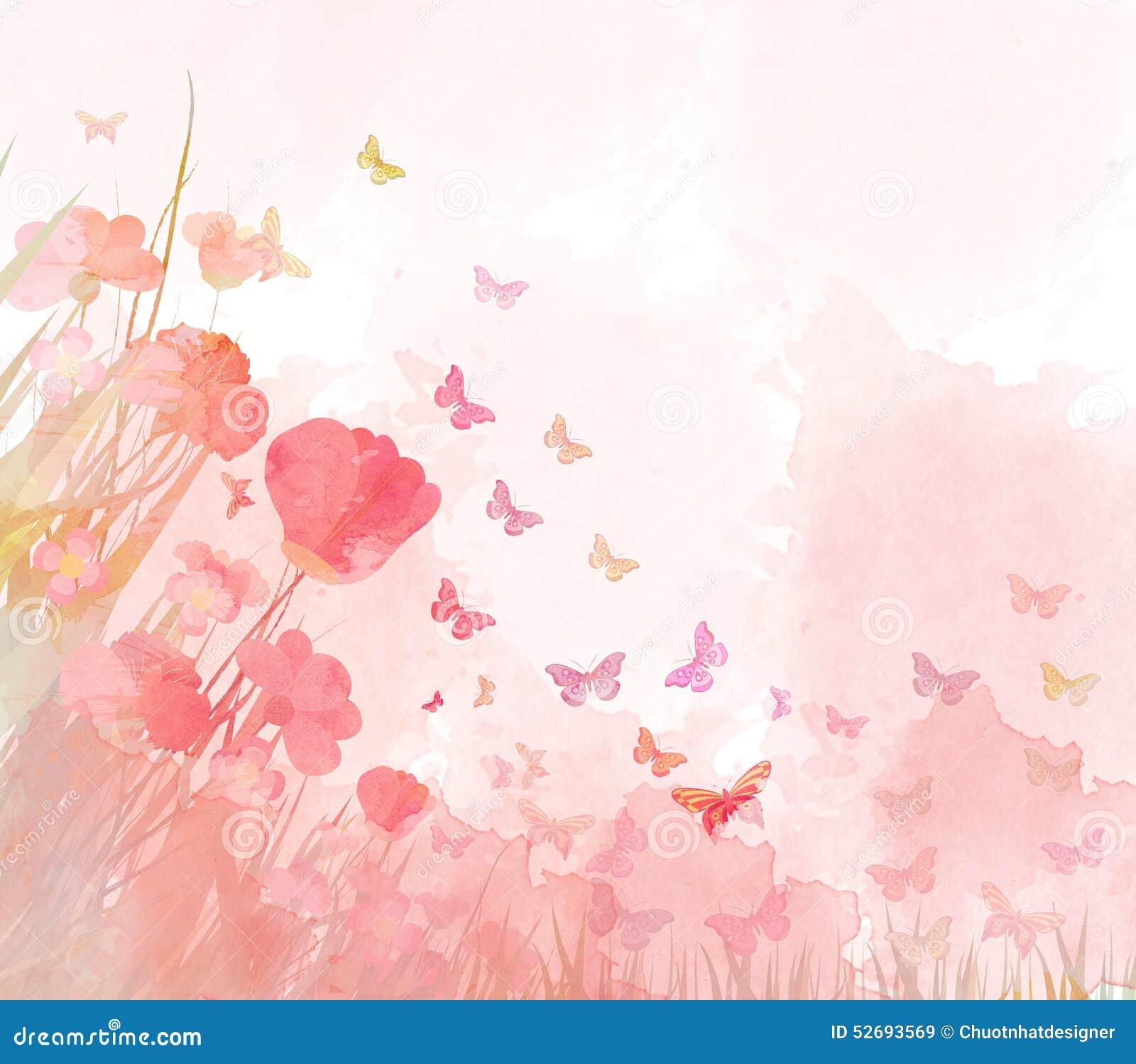 Watercolor butterflies background