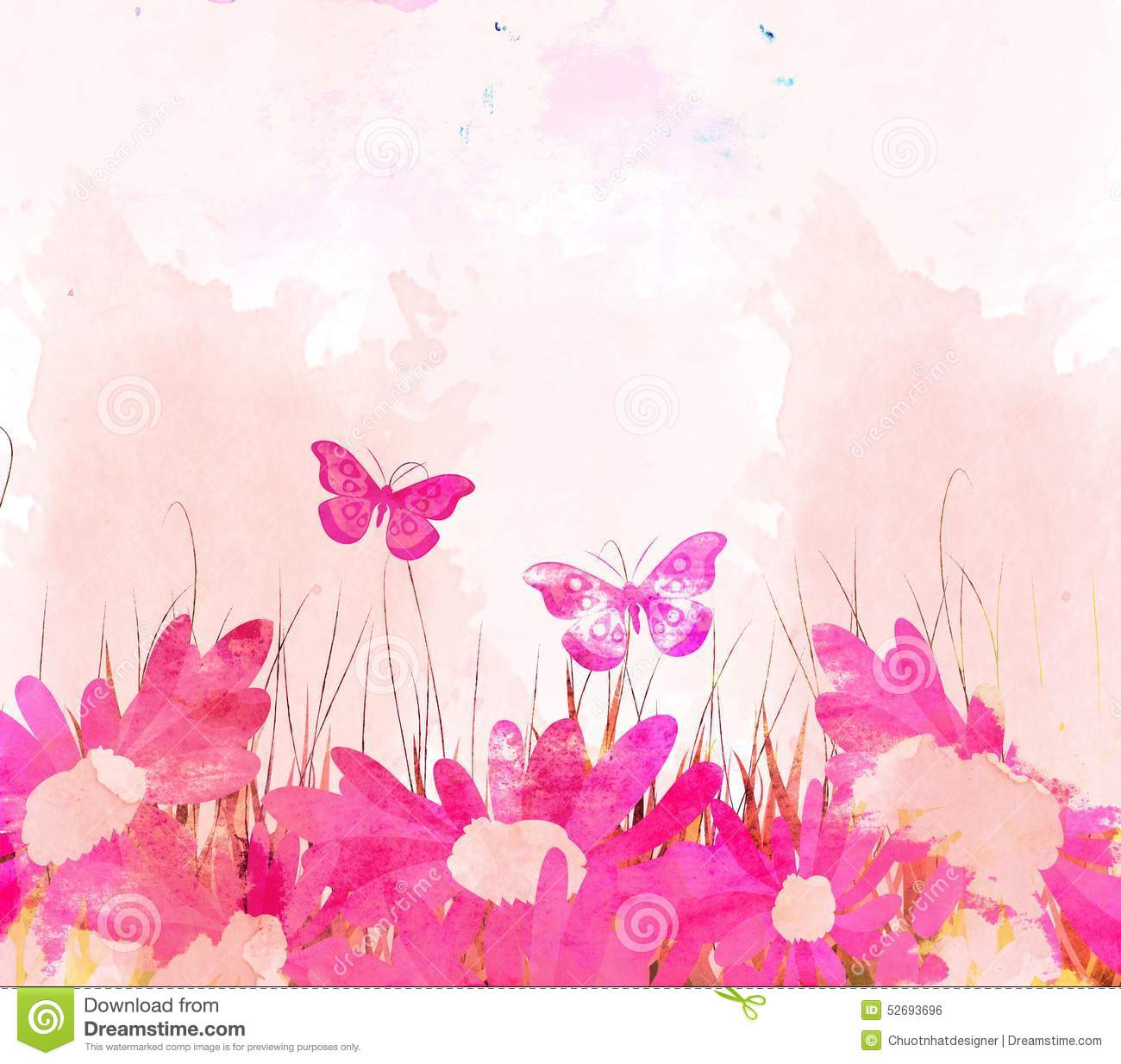 watercolor butterflies and flower background stock