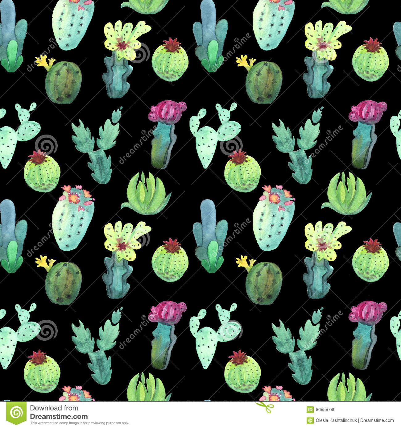 watercolor cactus seamless pattern colorful vibrant