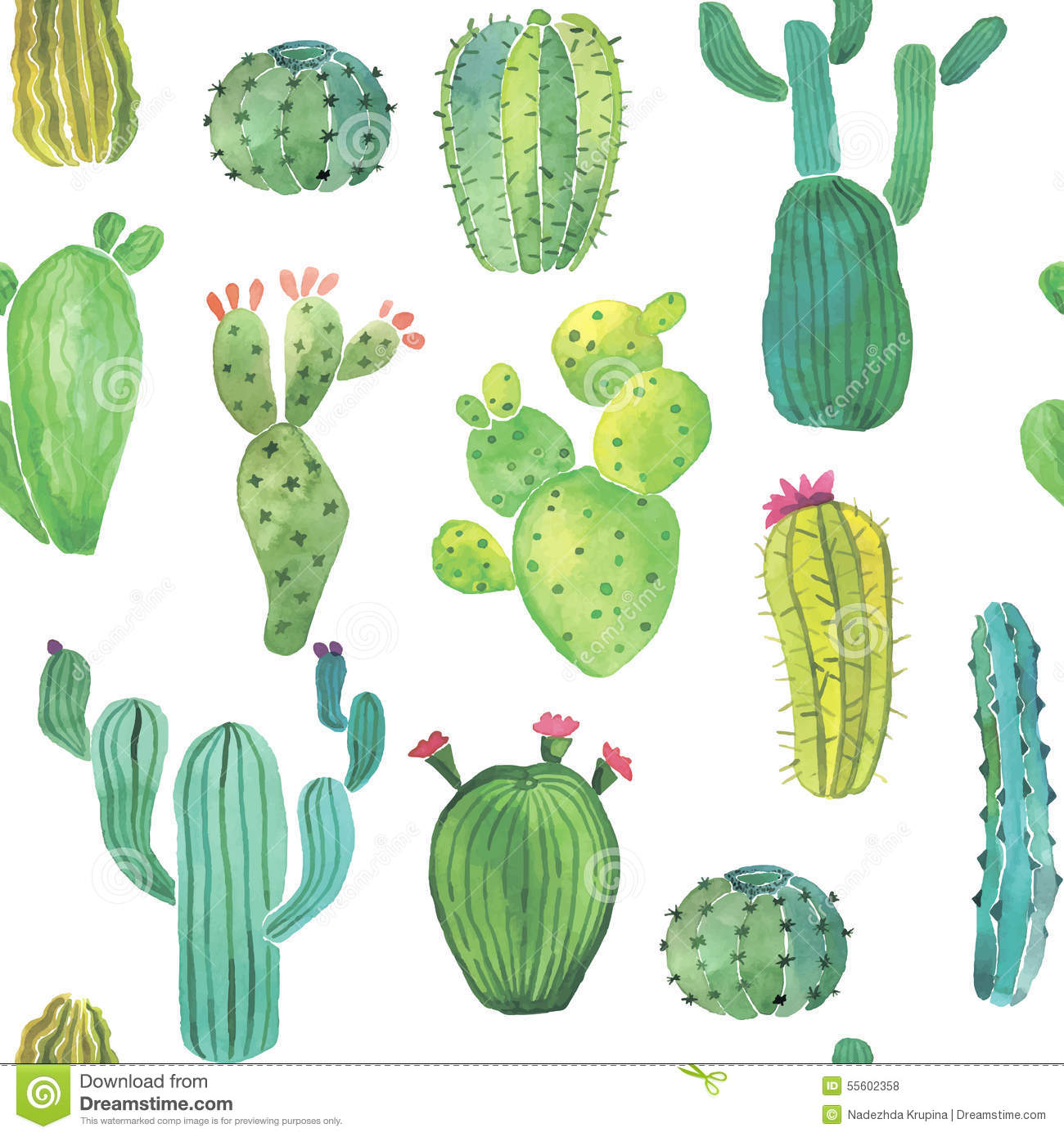 Watercolor Cactus Seamless Pattern Stock Vector Illustration Of Floral Watercolor