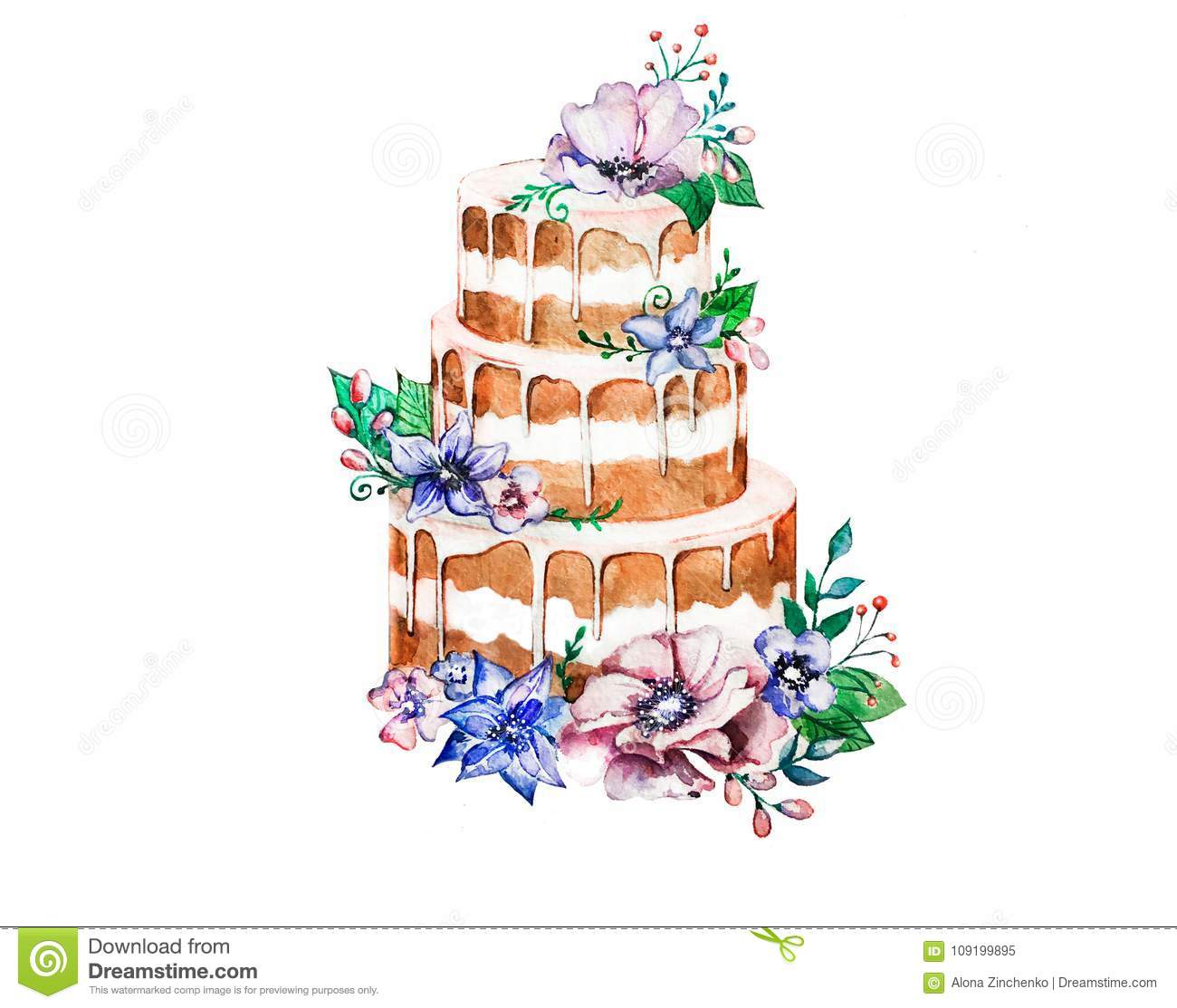 Watercolor Cake With Flowers Three Tier Cream Decorated A Wedding Birthday Celebration Drawing Can Be Used