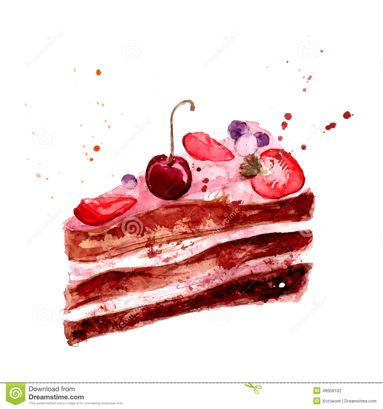 Watercolor cake with pink fruit cream, cherry and strawberry.