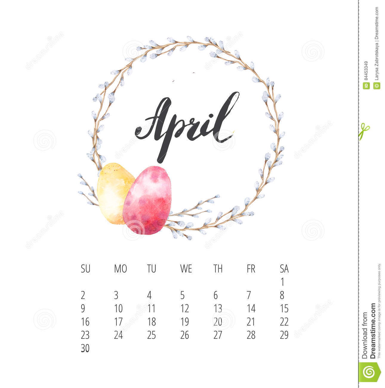 April Calendar Background : Watercolor calendar template for april year stock