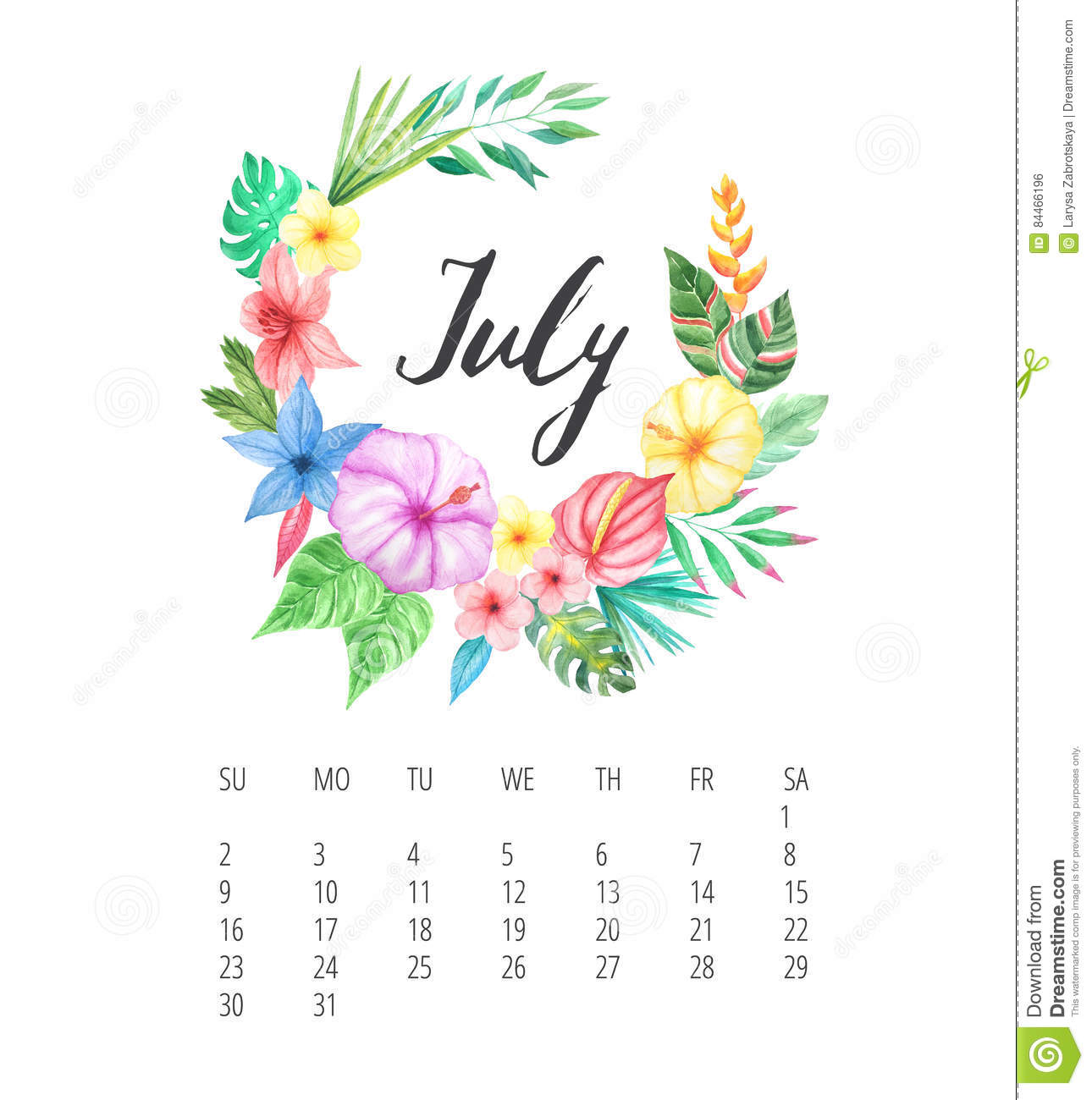 Watercolor Calendar Template For July 2017 Year Stock Illustration