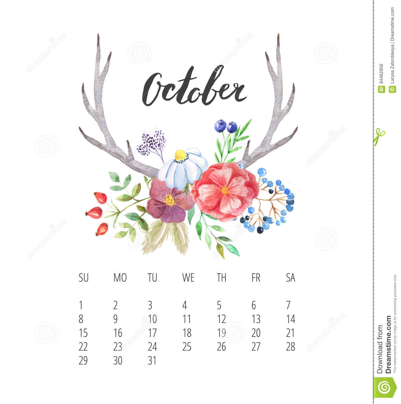 watercolor calendar template for october 2017 year stock