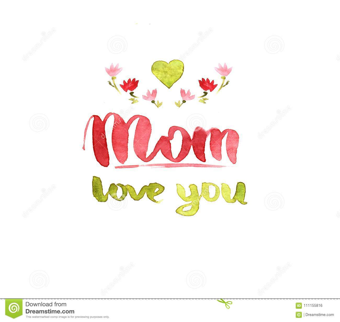 Watercolor Calligraphy Mom Love You Stock Illustration