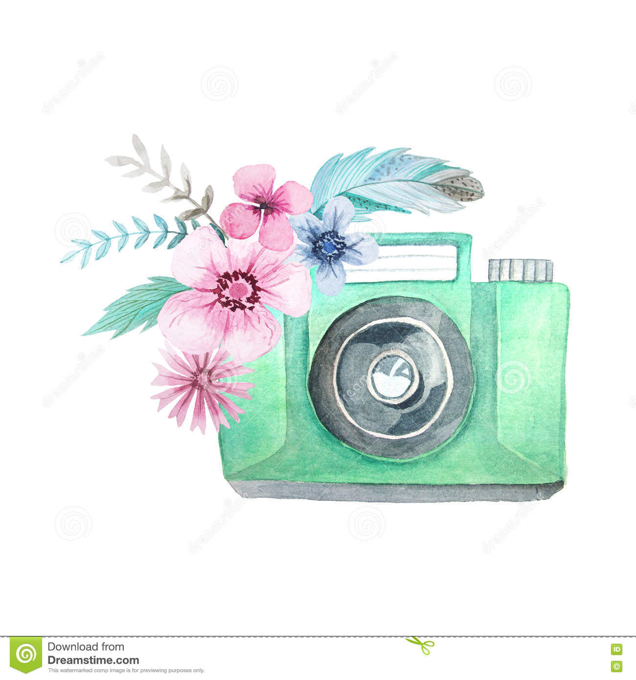 ... camera with flowers. Hand painted photo clip art perfect for logo