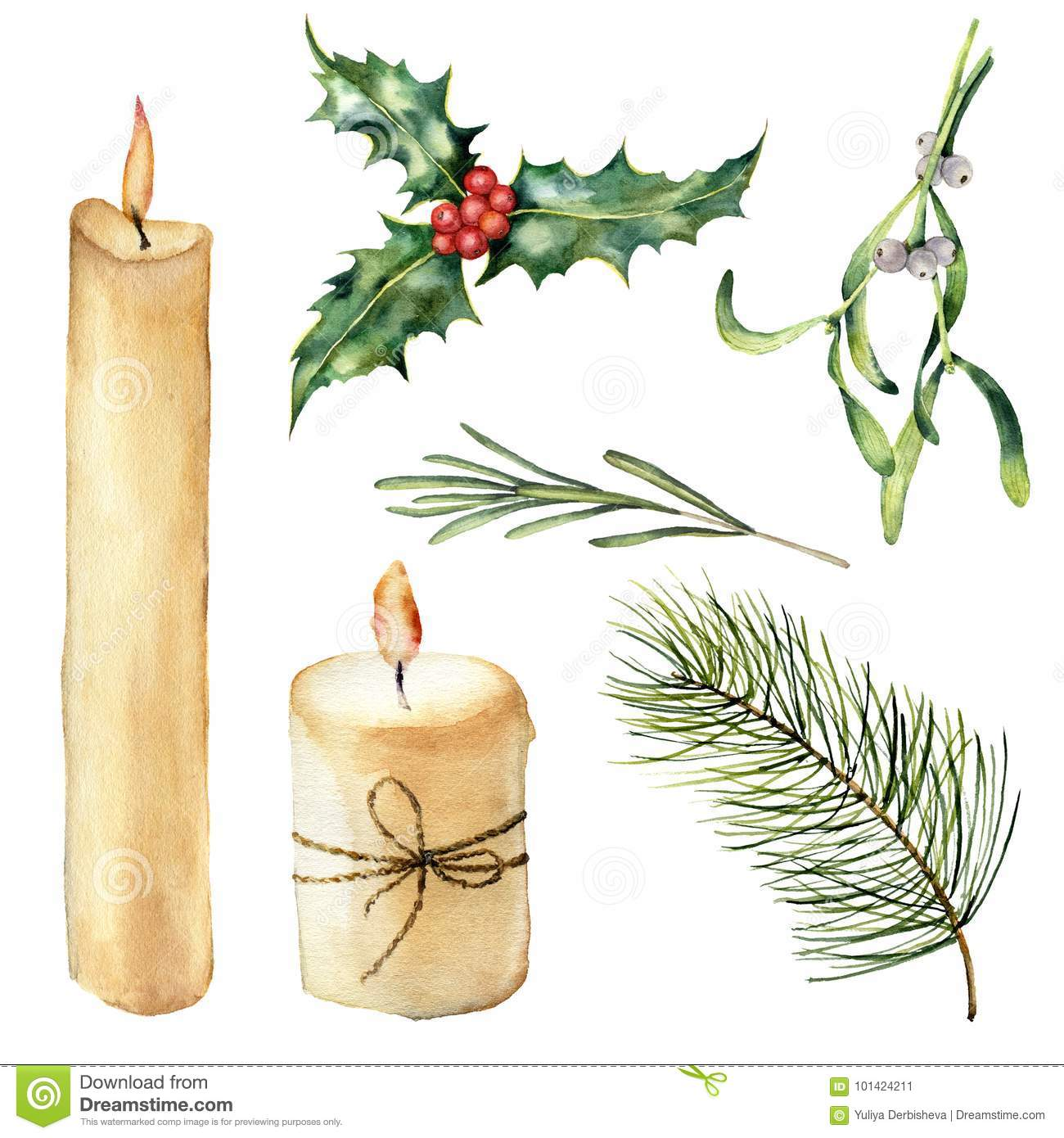 Watercolor candle with decor set. Hand painted candle, holly, mistletoe rosemary, christmas tree branch isolated on