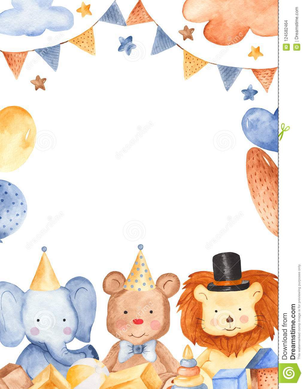 Watercolor Card With Cute Animals. Stock Illustration - Illustration ...
