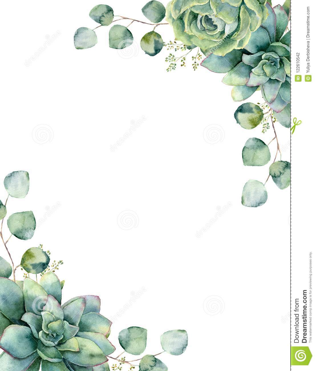 Watercolor card with exotic bouquet. Hand painted eucalyptus branch and leaves, green succulents isolated on white