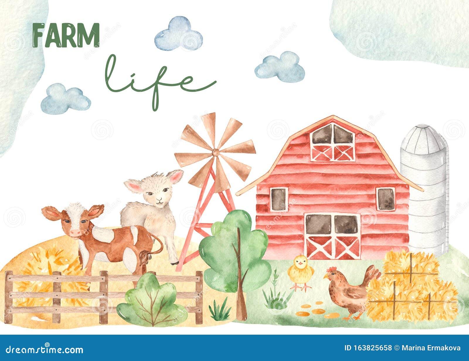 Watercolor Card Life Of A Farmer With Cute Horse Lamb Chicken Barn Hay Stock Illustration Illustration Of Bird Lamb 163825658
