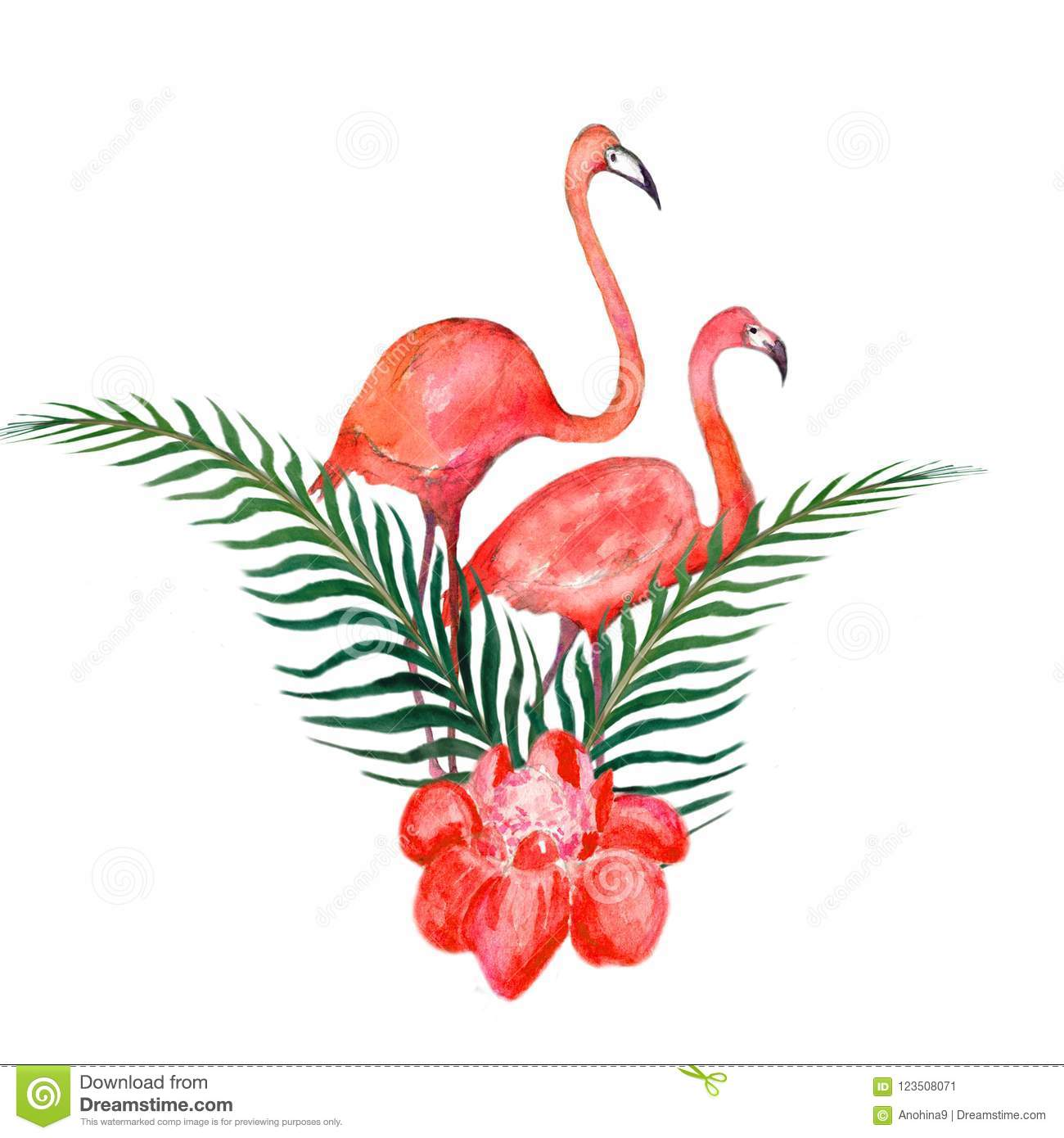Watercolor Card Of Tropical Leaves And The Pink Flamingo Isolated On ...