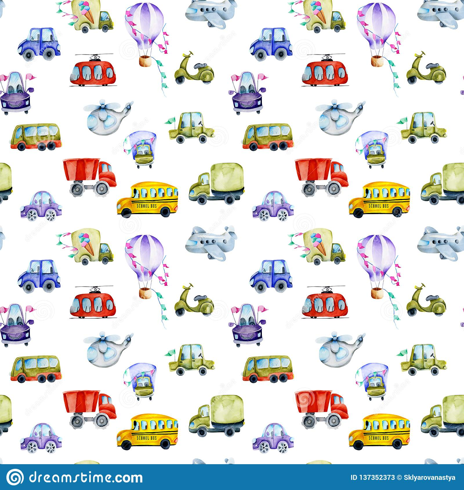 Watercolor Cars And Air Transport Seamless Pattern Stock
