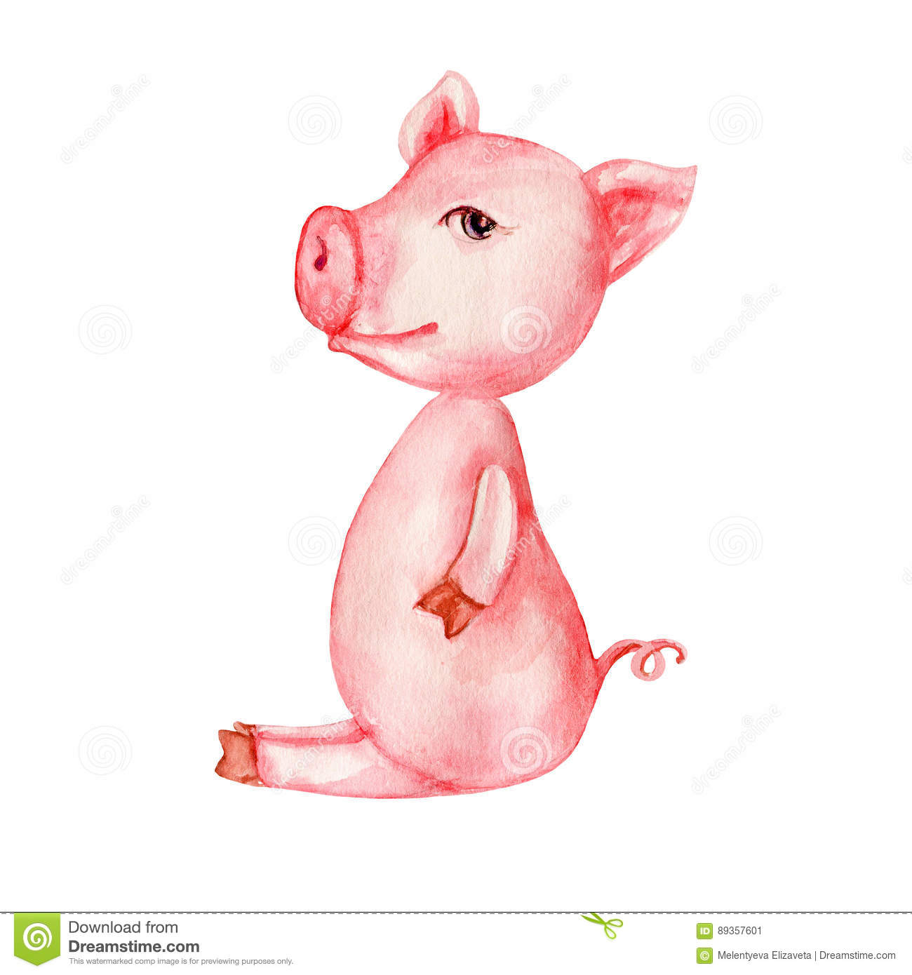 watercolor cartoon cute pink pig isolated on white background