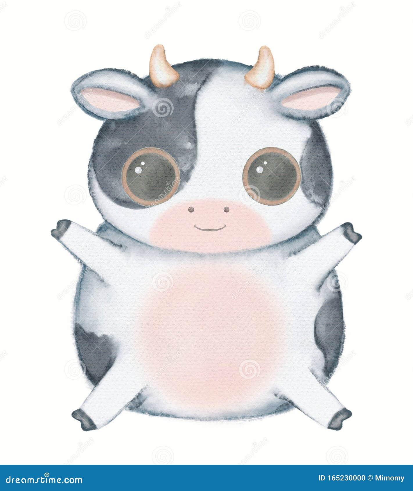 Watercolor Cartoon Kawaii Funny Cow Stock Photo Image Of Cartoon