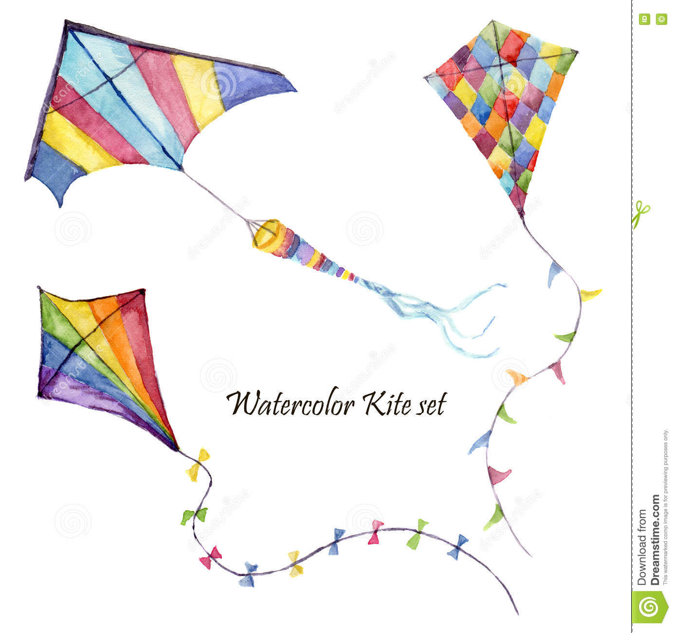 Watercolor checkerboard and striped kites air set. Hand drawn vintage kite with retro design. Illustrations isolated on white back