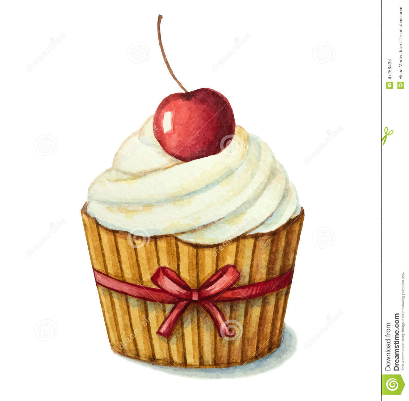 Watercolor Cherry Muffin Stock Vector Image 47758438