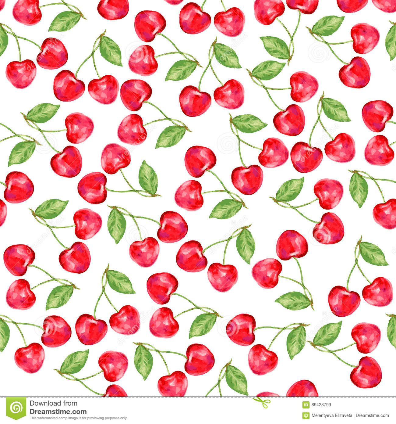 Watercolor cherry, Ornament with berry, Nature theme, Seamless pattern, Watercolor paint for gift box, wallpaper, backgroun