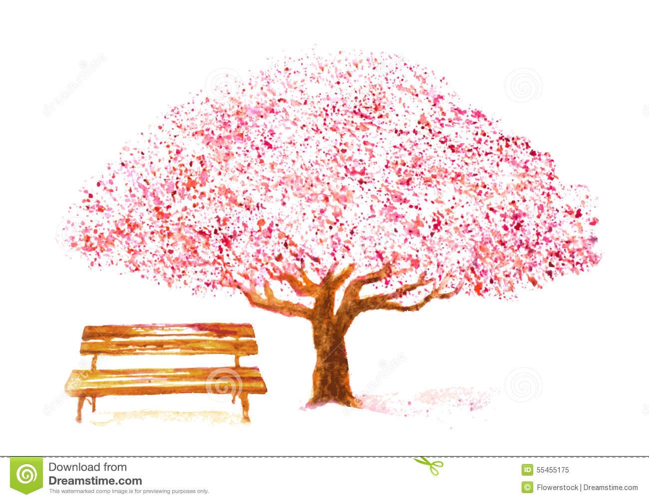 Watercolor Cherry Tree And Bench On White Stock Vector