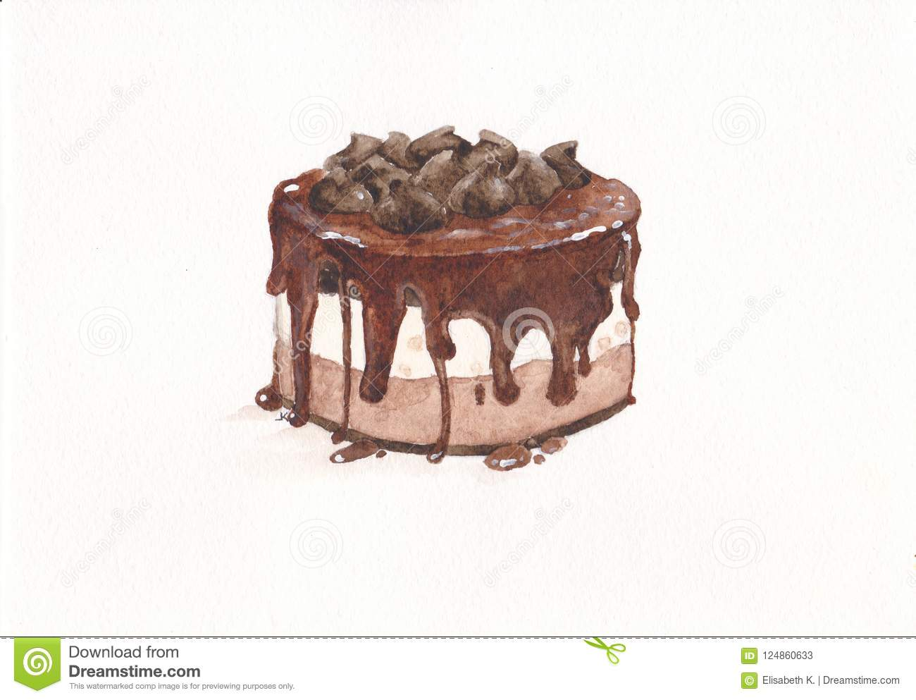 Watercolor Chocolate Cake Watercolor Dessert Stock Illustration