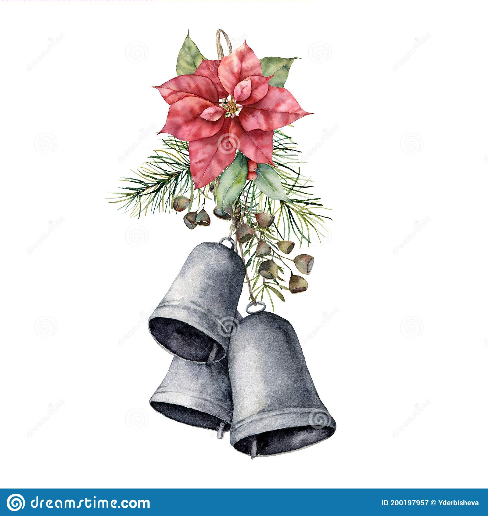 Watercolor Christmas Bouquet With Red Poinsettia Bells And Pine Needle Hand Painted Holiday Flower Leaves And Seeds Isolated On Stock Illustration Illustration Of Needle Holiday 200197957
