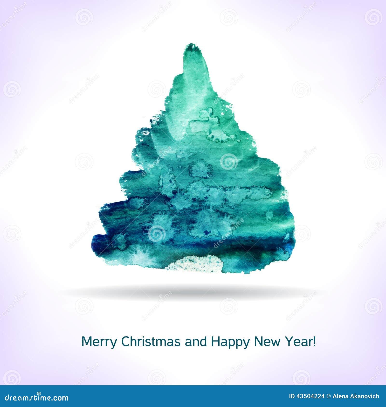 Shell Credit Card >> Watercolor Christmas Card. Stock Vector - Image: 43504224