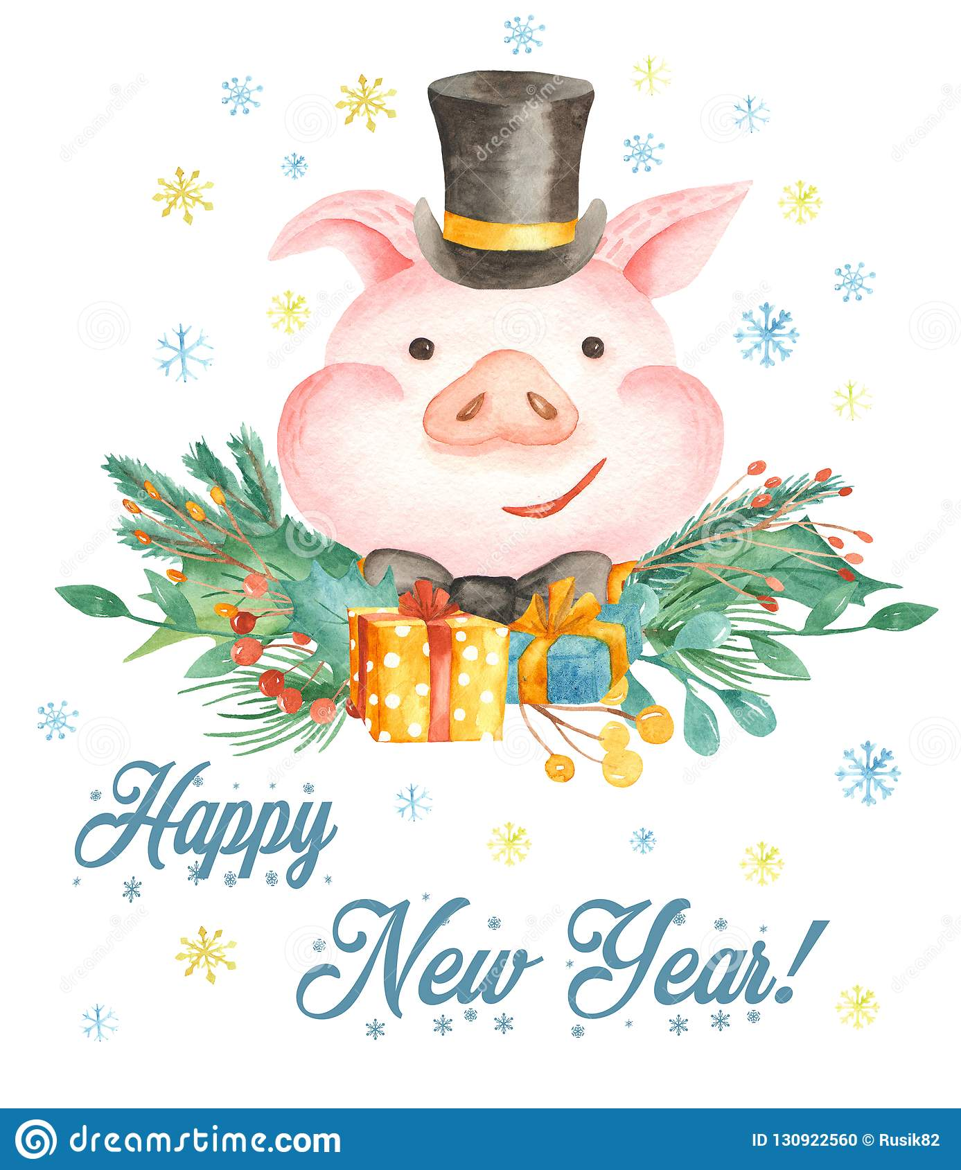 Watercolor Christmas Card With Cute Cartoon Pig. Symbol Of The Year ...