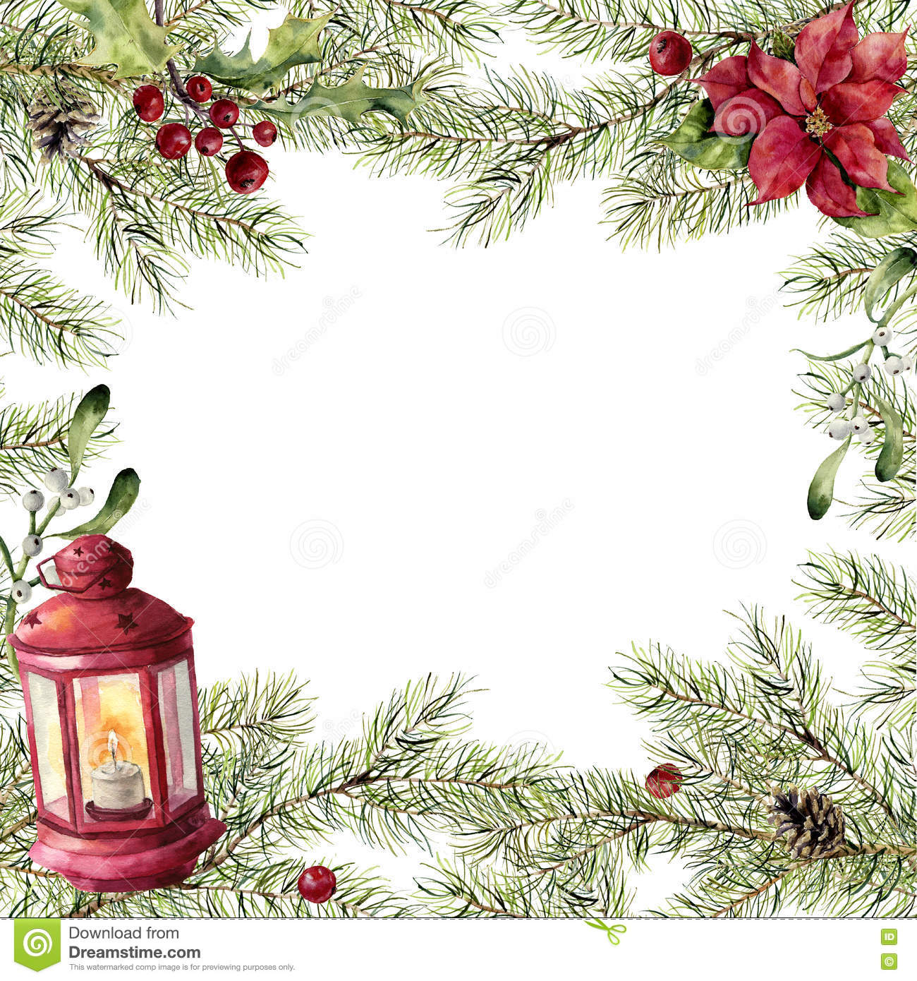 Watercolor Christmas Card Fir Branch With Holly